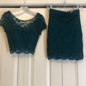Nordstrom Brand Two Piece Lace Emerald Dress